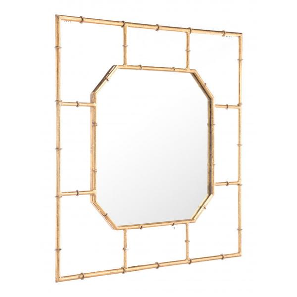 Bamboo Square Mirror Gold
