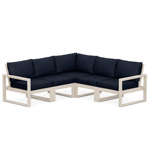 Polywood Furnishings - EDGE 5-Piece Modular Deep Seating Set in Sand / Marine Indigo