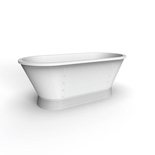 "Coventry 66"" Acrylic Tub with Integrated Drain and Overflow - White Powder Coat Drain and Overflow"