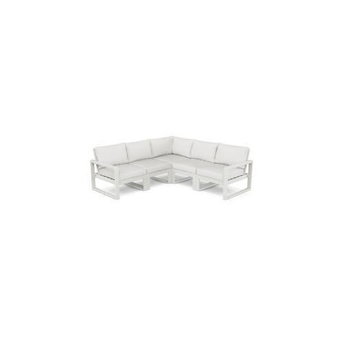 Polywood Furnishings - EDGE 5-Piece Modular Deep Seating Set in Vintage White / Natural Linen