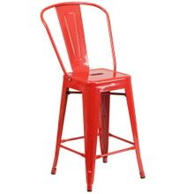 See Details - 24'' High Red Metal Indoor-Outdoor Counter Height Stool with Back