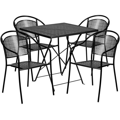 28'' Square Black Indoor-Outdoor Steel Folding Patio Table Set with 4 Round Back Chairs