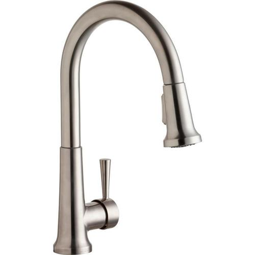 Elkay - Elkay Everyday Single Hole Deck Mount Kitchen Faucet with Pull-down Spray Forward Only Lever Handle Lustrous Steel