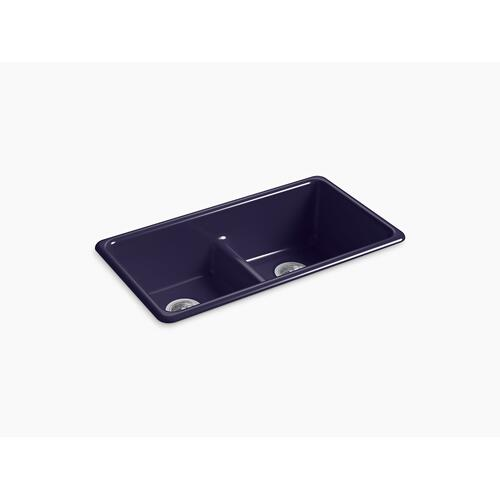 "Indigo Blue 33"" X 18-3/4"" X 9-5/8"" Smart Divide Top-mount/undermount Double-equal Kitchen Sink"