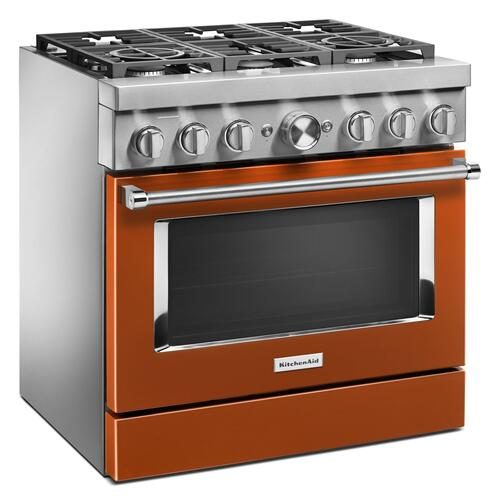 KitchenAid® 36'' Smart Commercial-Style Dual Fuel Range with 6 Burners Scorched Orange