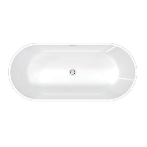 "Orrick 63"" Acrylic Oval Tub with Integral Drain and Overflow - Polished Nickel Drain and Overflow"