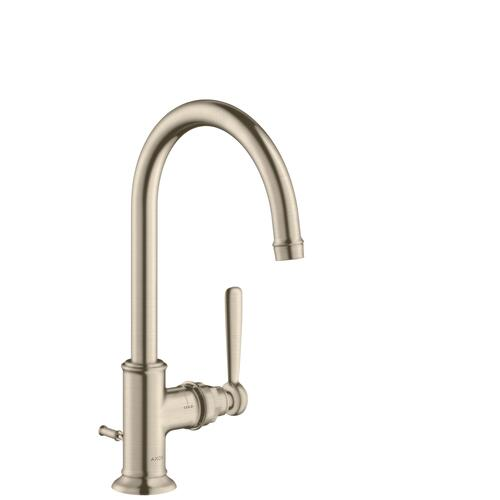 Brushed Nickel Single lever basin mixer 210 with lever handle and pop-up waste set
