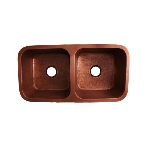 """Severn 35"""" Double Bowl Copper Undermount Kitchen Sink"""
