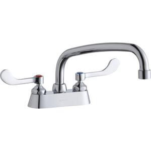 "Elkay 4"" Centerset with Exposed Deck Faucet with 10"" Arc Tube Spout 4"" Wristblade Handles Product Image"