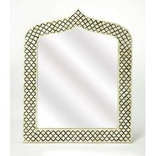This magnificent Wall Mirror features sophisticated artistry and consummate craftsmanship. The gemoteric patterns covering the piece are created from white bone inlays cut and individually applied in a sea of black by the hands of a skillful artisan. No t