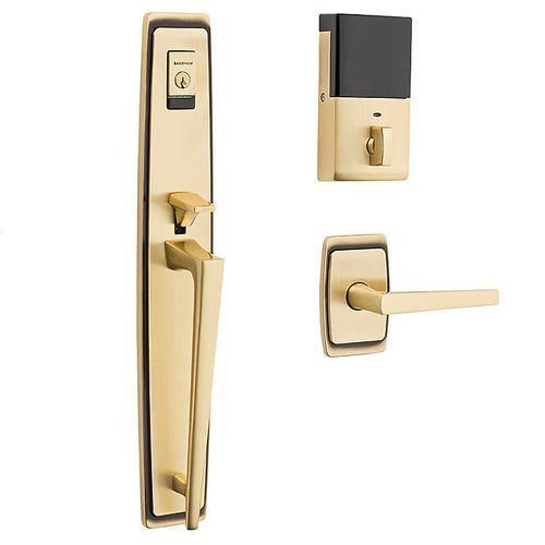 Satin Brass and Brown Evolved Palm Springs Full Escutcheon Handleset