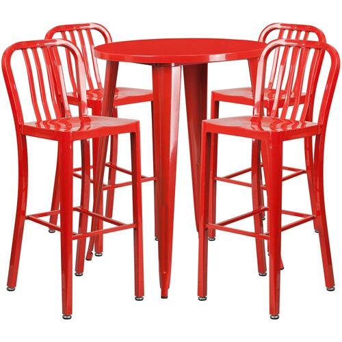 30'' Round Red Metal Indoor-Outdoor Bar Table Set with 4 Vertical Slat Back Stools