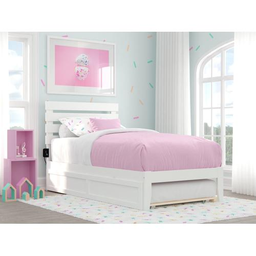 Atlantic Furniture - Oxford Twin Bed with USB Turbo Charger and Twin Trundle in White