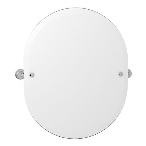 "Polished Chrome Perrin & Rowe Holborn Wall Mount 24 7/16"" Oval Mirror"