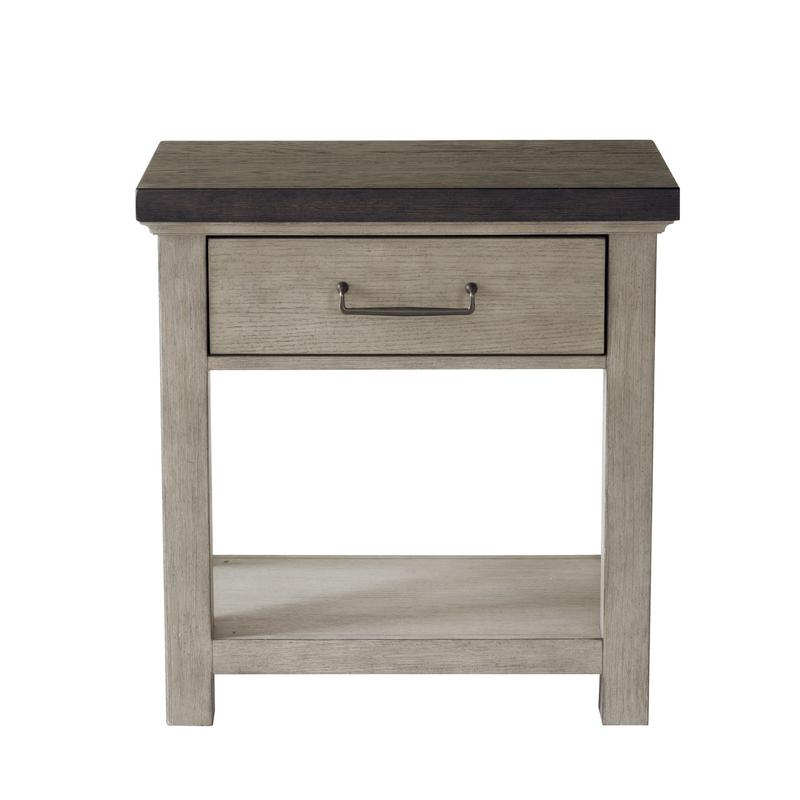 1 Drawer Open USB Charging Nightstand in Farmhouse Grey