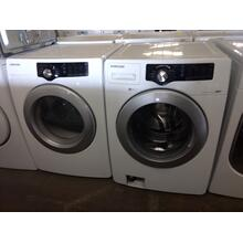 Refurbished White Samsung Front Load Washer Dryer Set Please call store if you would like additional pictures. This set carries our 6 month warranty, MANUFACTURER WARRANTY AND REBATES ARE NOT VALID (Sold only as a set)