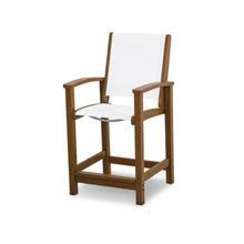 Teak & White Coastal Counter Chair