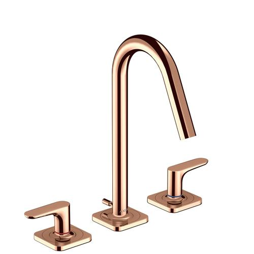 Polished Red Gold 3-hole basin mixer 160 with lever handles, escutcheons and pop-up waste set