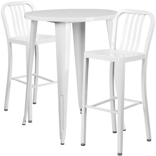 30'' Round White Metal Indoor-Outdoor Bar Table Set with 2 Vertical Slat Back Stools