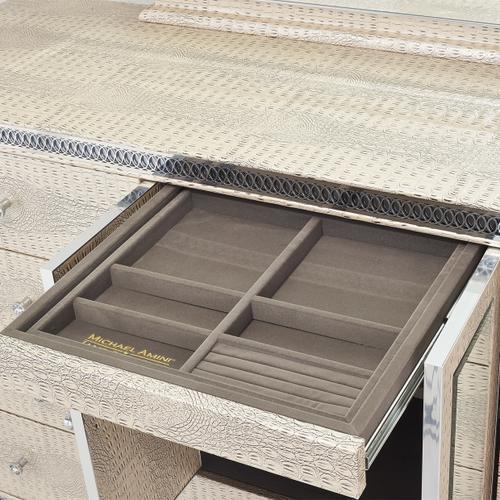 Amini - Upholstered Storage Console-dresser W/mirror (2pc)