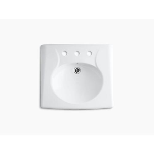 Black Black Wall-mounted or Concealed Carrier Arm Mounted Commercial Bathroom Sink With Widespread Faucet Holes