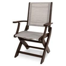 View Product - Coastal Folding Chair in Mahogany / Metallic Sling