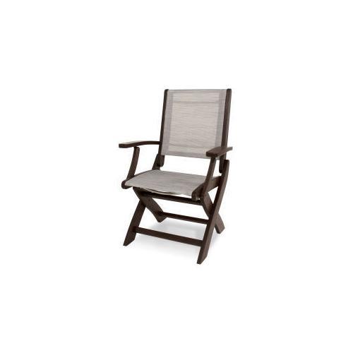Polywood Furnishings - Coastal Folding Chair in Mahogany / Metallic Sling
