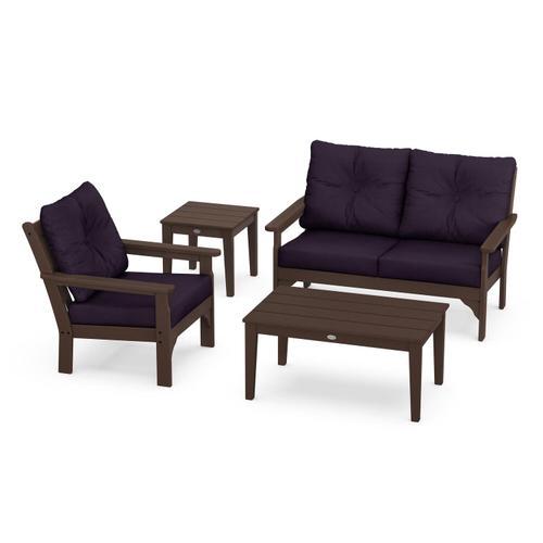 Vineyard 4-Piece Deep Seating Set in Mahogany / Navy Linen