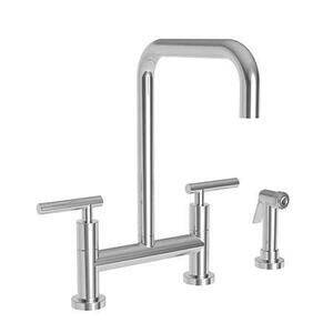 Weathered Brass Kitchen Bridge Faucet with Side Spray