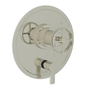 Campo Pressure Balance Trim with Diverter - Polished Nickel with Industrial Metal Wheel Handle