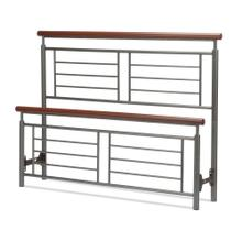 See Details - Fontane Metal Headboard and Footboard Bed Panels with Geometric Grills and Rounded Cherry Wood Color Top Rails, Silver Finish, Queen