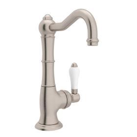 Cinquanta Single Hole Column Spout Kitchen Faucet - Satin Nickel with White Porcelain Lever Handle