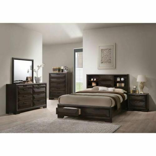 ACME Merveille Eastern King Bed w/Storage - 22867EK - Espresso