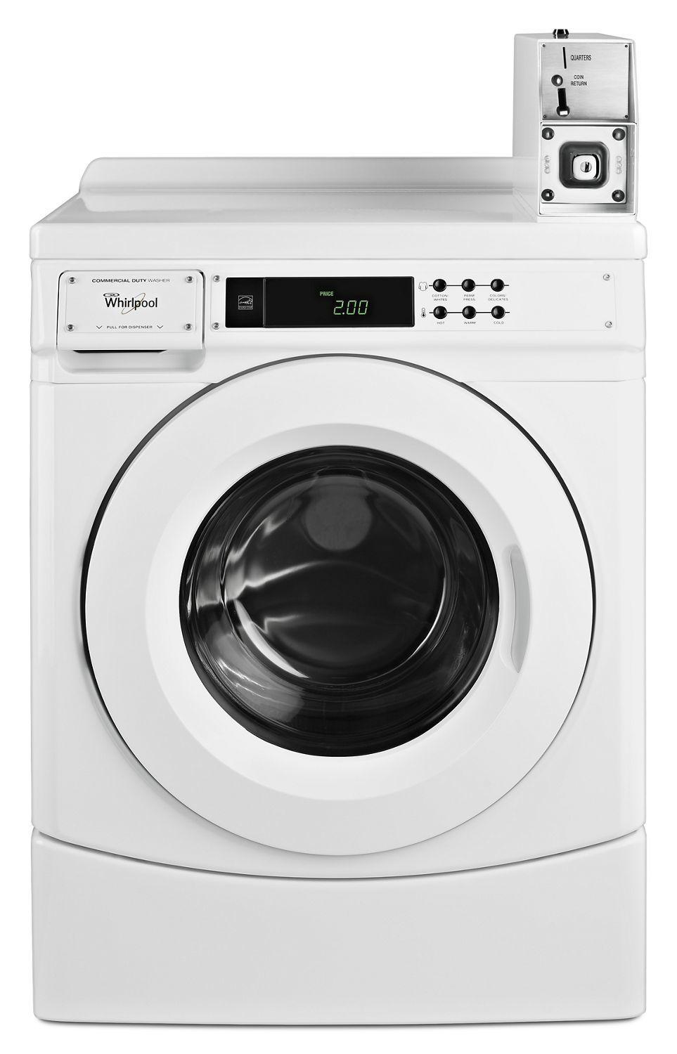 "Whirlpool27"" Commercial High-Efficiency Energy Star-Qualified Front-Load Washer Featuring Factory-Installed Coin Drop With Coin Box White"