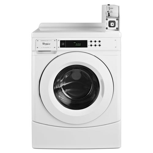 """Product Image - 27"""" Commercial High-Efficiency Energy Star-Qualified Front-Load Washer Featuring Factory-Installed Coin Drop with Coin Box White"""