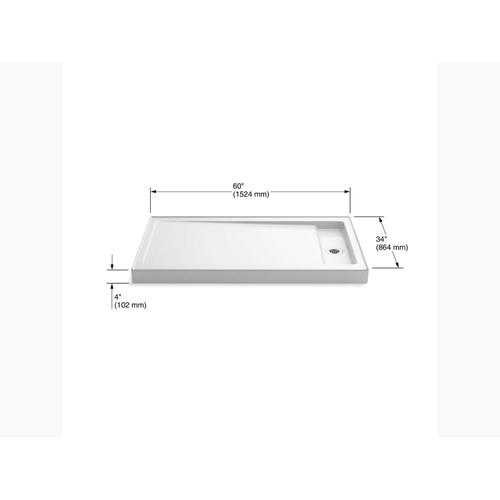 """White 60"""" X 34"""" Single-threshold Shower Base With Right Offset Drain"""
