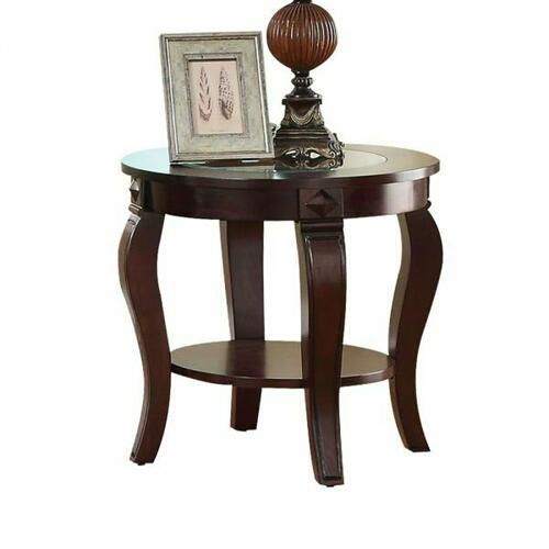 ACME Riley End Table - 00452 - Walnut & Clear Glass