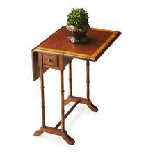 Sleek bamboo-style legs and stretcher provide an Asian flair to this traditional drop-leaf table in a rich Olive Ash Burl finish. On top is a distinctive cherry veneer inset framed within a border of olive ash burl veneer. The drawer opens with a pull fin
