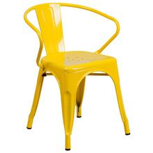 Yellow Metal Indoor-Outdoor Chair with Arms