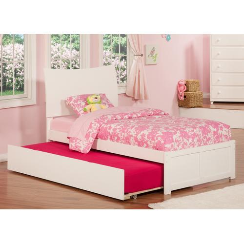 Soho Twin Flat Panel Foot Board with Urban Trundle White