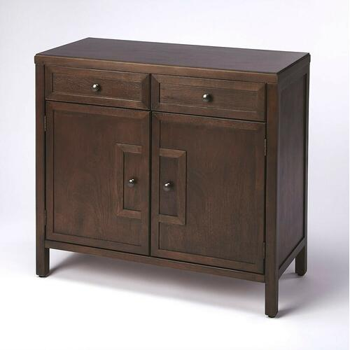 This stylish console cabinet combines Modern minimalism with Eastern design elements. Featuring clean lines and a Coffee finish, its inner storage cabinet and two drawers make it a great addition in an entryway, hallway or living room. Crafted from bayur wood solids and wood products with nickel finished hardware.