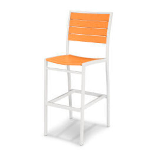 Polywood Furnishings - Eurou2122 Bar Side Chair in Satin White / Tangerine