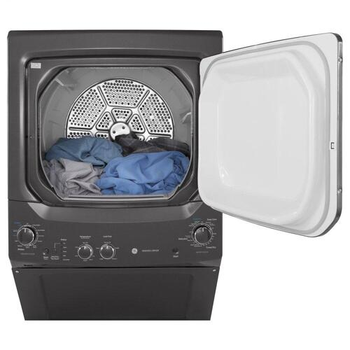 GE Unitized Spacemaker 3.8CF Diamond Gray Washer with Stainless Steel Basket and 5.9CF Electric Dryer
