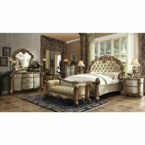 ACME Vendome Queen Bed - 23000Q - Bone PU & Gold Patina