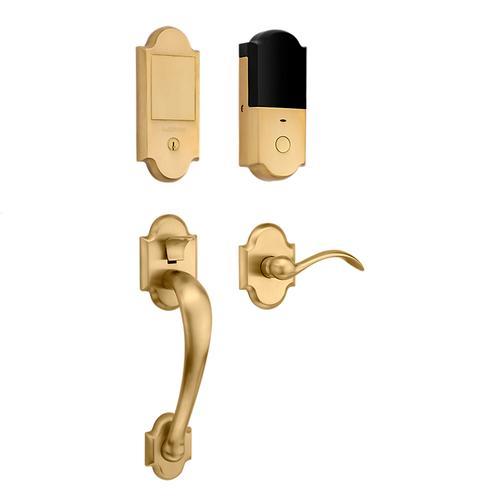 Vintage Brass Boulder Touchscreen Dummy Handleset