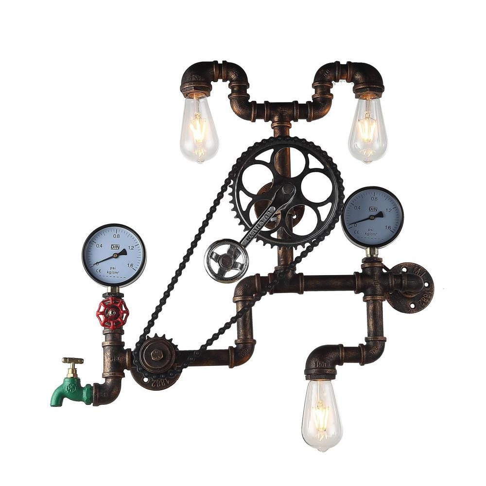 Luminaire Industrial Pipe & Gauge Wall Sconce