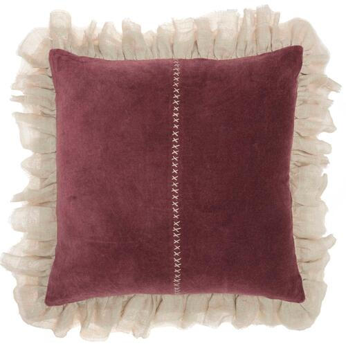 "Life Styles Ge903 Burgundy 22"" X 22"" Throw Pillow"