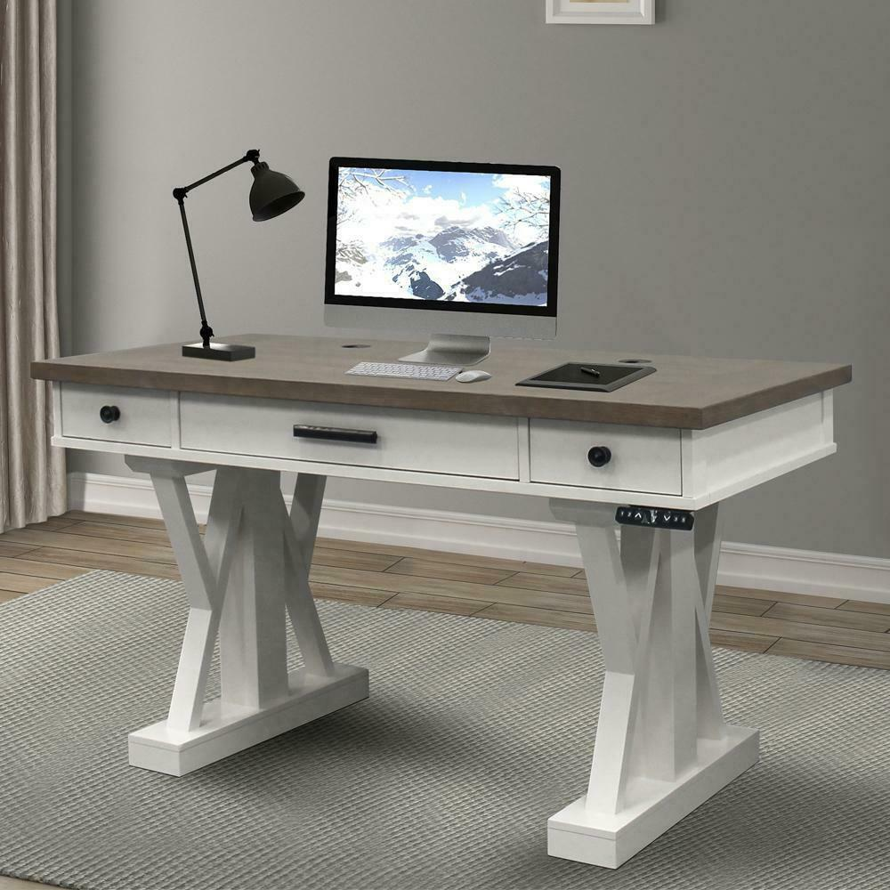 See Details - AMERICANA MODERN - COTTON 56 in. Power Lift Desk (from 23 in. to 48.5 in.) (AME#256T and LIFT#200WHT)