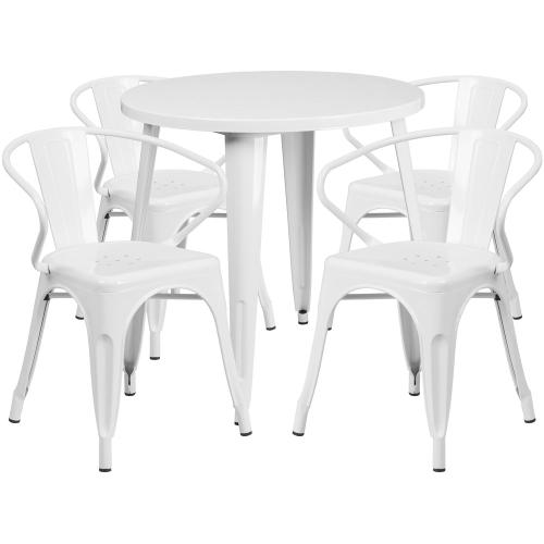 30'' Round White Metal Indoor-Outdoor Table Set with 4 Arm Chairs