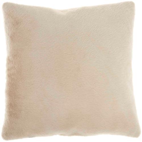 "Faux Fur Ap100 Beige 20"" X 20"" Throw Pillow"